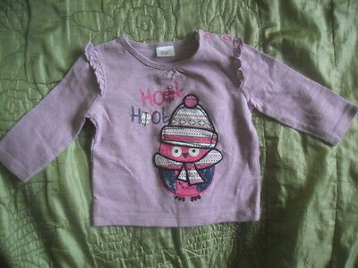 F&F Girl top Penguin 0-3 months Excellent