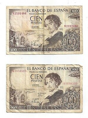 1965 El Banco De Espana Cien (100) Pesetas - Lot of Two Notes V2792480/Q1680505