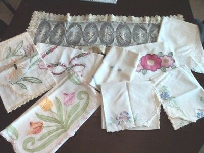 Vintage 9 Dresser Scarves/runners, Embroidered, Crochet, Quilted