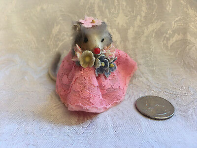 Vintage Little MOUSE Factory BRIDESMAID Girl Fur Doll Toy Pink Dress Germany