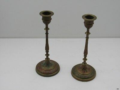 Vintage Pair of Solid Brass HAND ETCHED Candlesticks w Green Red Accents : India