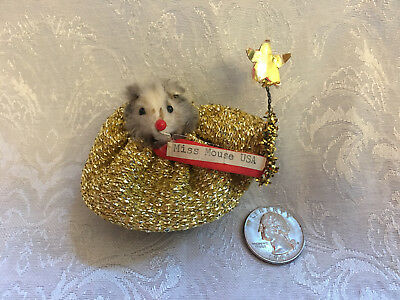 Vintage Little MISS AMERICA MOUSE USA Factory Fur Beauty Pageant Girl Toy Doll