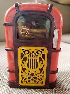 Vintage Ideola Musical Juke Box Jukebox Bank Plastic Case Scrolls Coin Activated