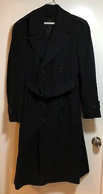 WWII US Navy USN Bridge Coat Wool Long Overcoat Double Breasted Military Uniform