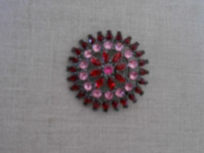 Silver-tone Red/Pink Vintage Crystal Starburst Pin/Brooch/Locket