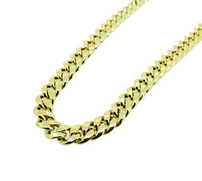 Mens 10K Hollow Gold Miami Cuban Chain 28 Inches 11MM