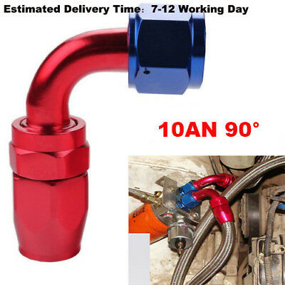 Universal 10AN -10AN Straight Swivel Oil Fuel Adapter Red/Blue Hose End Fitting