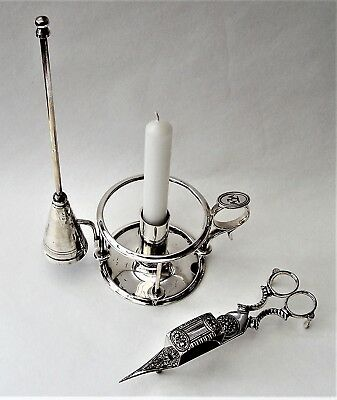 Silver Plated Chamberstick Candle Holder Elkington 1878 + Candle Wick Scissors