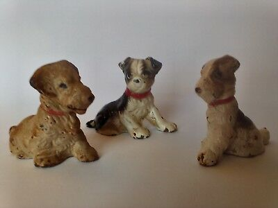 Lot Of 3, Painted Cast Iron Puppy Dog Figurines Vntg/Antique, Small Miniature