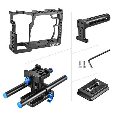 Andoer Aluminum Alloy Camera Cage + Top Handle + 15mm Rod Baseplate Kit Y7Y3