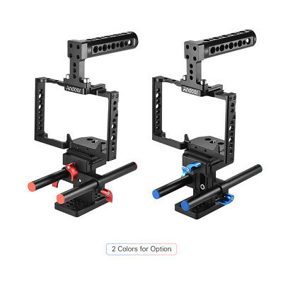 Andoer Aluminum Alloy Camera Cage + Top Handle + 15mm Rod Baseplate Kit W8G5