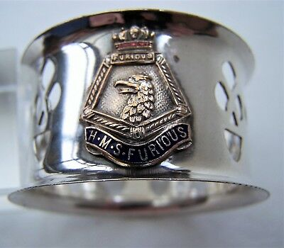 Vintage Silver Plated Royal Navy HMS Furious Napkin Ring
