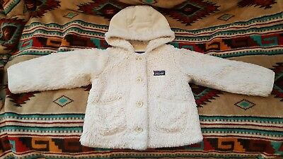 PATAGONIA Baby Conejito 2T Ivory Deep Pile Fleece with Hood Pockets & Buttons!