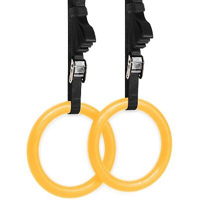 Olympic Crossfit Gymnastic Rings With Flexible Buckles Yellow Adjustable Buckle