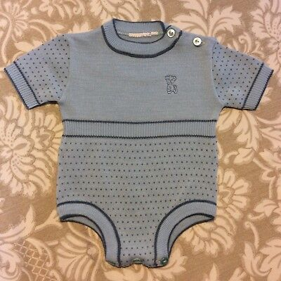Vintage-Baby Boy-Infant-Blue Knit Romper with Bear-One piece