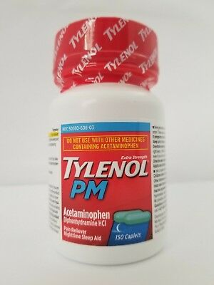 Tylenol PM Extra Strength Nighttime Sleep Aid & Pain Relief 150 Caplets 09/19+