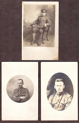 (3) Wwi Postcards - Soldiers Posing In Uniform In A Studio - Used