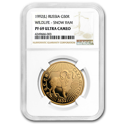1992 Russia Gold 50 Roubles Snow Ram PF-69 NGC - SKU#180851