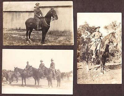 (3) Wwi Postcards - Cavalry Soldiers Posing On Horses - Used