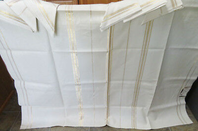 Vintage Linen Tablecloth with 6 Matching Napkins Never Used Original Tag