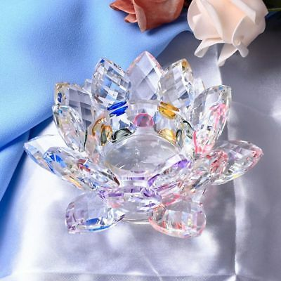 Handmade Crystal Lotus Flower Candle Holder Glass Candle Stand For Table 7 Color