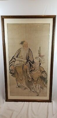 """Large Antique 19th Century Chinese Painting 67""""X38"""""""