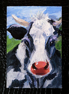 "Original art by Bastet ""Cow"" OOAK hand painted ACEO"