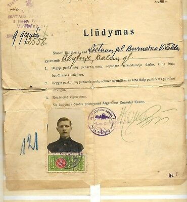 Lithuania,1929 Revenue Stamps On Complet Inmigration Application To Argentina,