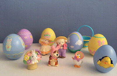 Hallmark Merry Miniatures 1980s Lot of 12 Easter Plastic Eggs Lambs Doggie Bunny