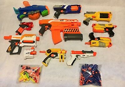 Lot of 10 Nerf Guns N-Strike and More Plus Over 100 Darts