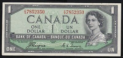 1954 Canadian $1 Dollar Bank Of Canada Devils Face!! Coyne & Towers!!