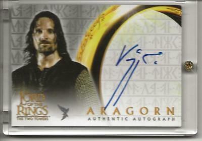 Viggo Mortensen Auto Signed 2002 Topps Lotr Two Towers Aragorn Autograph Card
