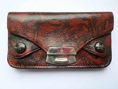 Small vintage brown leather ladies change purse