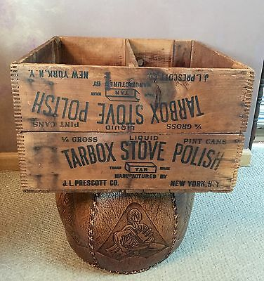 Antique TARBOX Stove Polish Wood Dovetail Shipping Crate 1900's J.L. Prescott Co