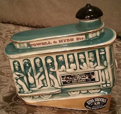 Vtg Collectible 1968 Empty Ezra Brooks Decanter Teal Powell & Hyde Cable Car