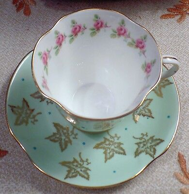 C & E Victoria  Vintage Bone China Made In England Mint Green Tea Cup & Saucer