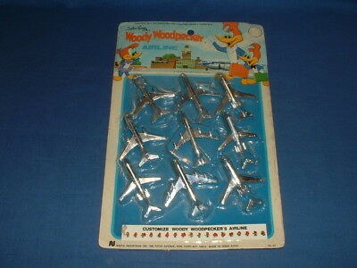 -1975 Card of Woody Woodpecker Airline Plastic Planes with Stickers, Hong Kong