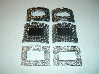 Vintage Pretty Lot Of 3 Pairs Silver & Markisite And Rhinstones