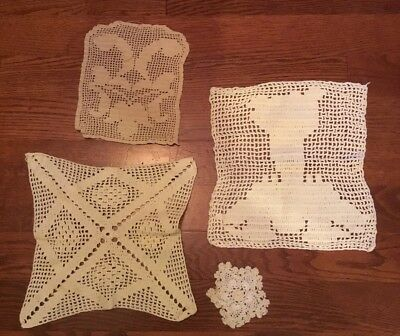 Lot of 4 Vintage Hand Crocheted Doilies Great Handiwork