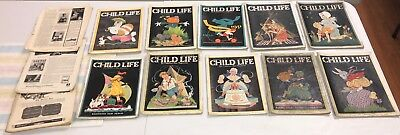 Vintage 1920s 30s Lot of 13 Child Life Magazine Halloween Graphic Colorful