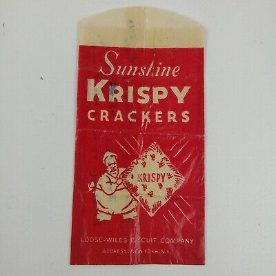 sd Sunshine Krispy Crackers Wiles Biscuit Co NY Vintage Advertising Bag Package