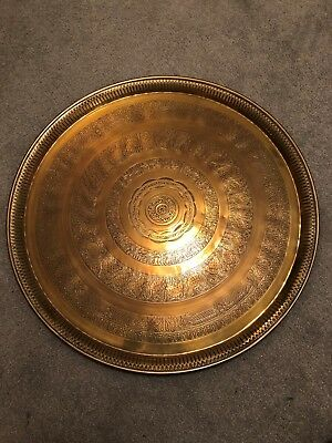 Large Solid Brass Tray Table Top with Wall Hanging Loop