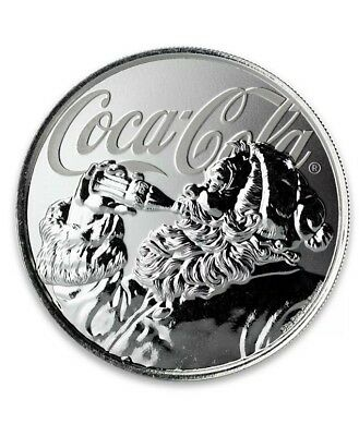Coca-Cola Holiday Coin - Limited Edition Silver 1 oz Fiji 2019 Santa Claus Coke