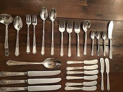 Vintage Lot Of 26 Assorted 1924 ANCESTRAL Pattern 1847 Rogers Bros Stainless