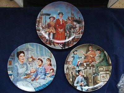 Set of 3 Mary Poppins Knowles Collector's plates 2 w/ COAs