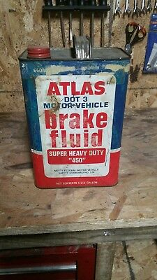Atlas brake fluid can, one gallon