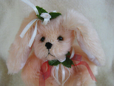 "7"" Mohair Hand Made Bunny Rabbit- So Soft- Pale Pink"