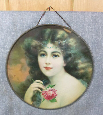 Antique Victorian Lithograph Large Flue Cover Maiden with Rose