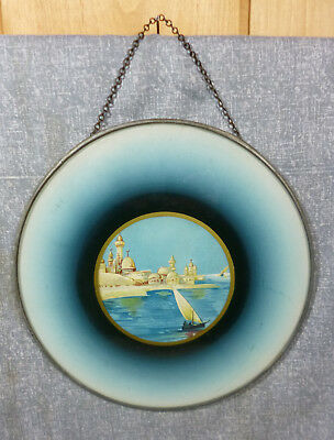 Antique Victorian Lithograph Flue Cover Sailboats offshore from a Turkish Town
