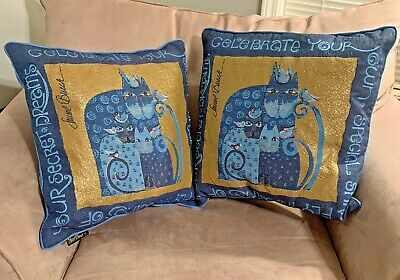 Pair of Laurel Burch Blue Indigo Gold Cats Tapestry Throw Pillows Retired